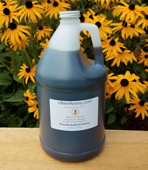 Raw Buckwheat Honey in a 1 gallon container. This is 12 ...