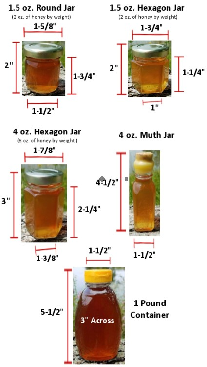 Honey Is Denser Than Water And Sold By Weight Not Fluid Oz We Ve Listed The Sizes Of Jars To Give You An Idea On How Large They Are Help