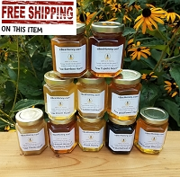 6 oz. Variety Pack - 10 Raw Honey Varieties includes Chunk Honey